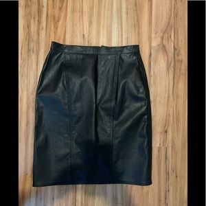 Winlit Genuine Black Leather Skirt